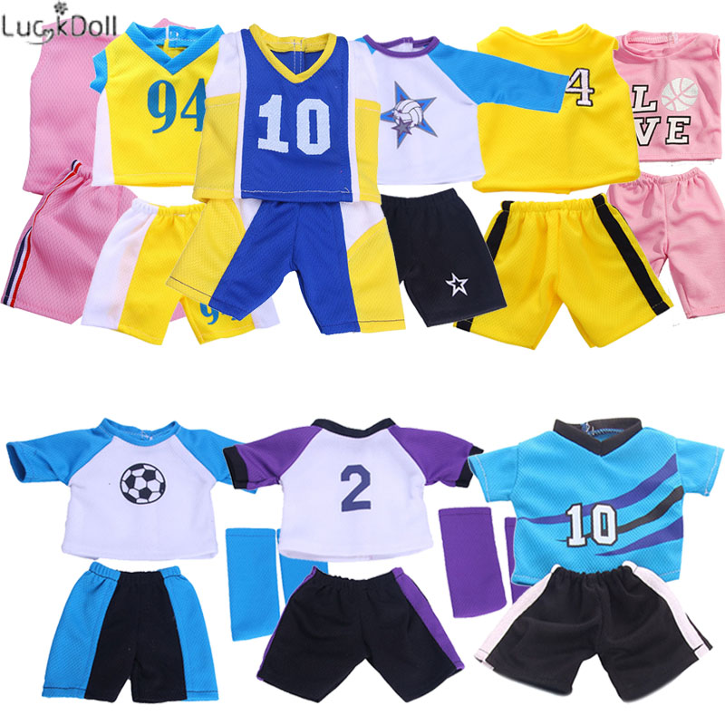 9 Colors Sportswear&Football Clothing Fit 18 Inch American&43 CM Baby Doll Clothes Accessories ,Girl/Boy's Toys,Generation