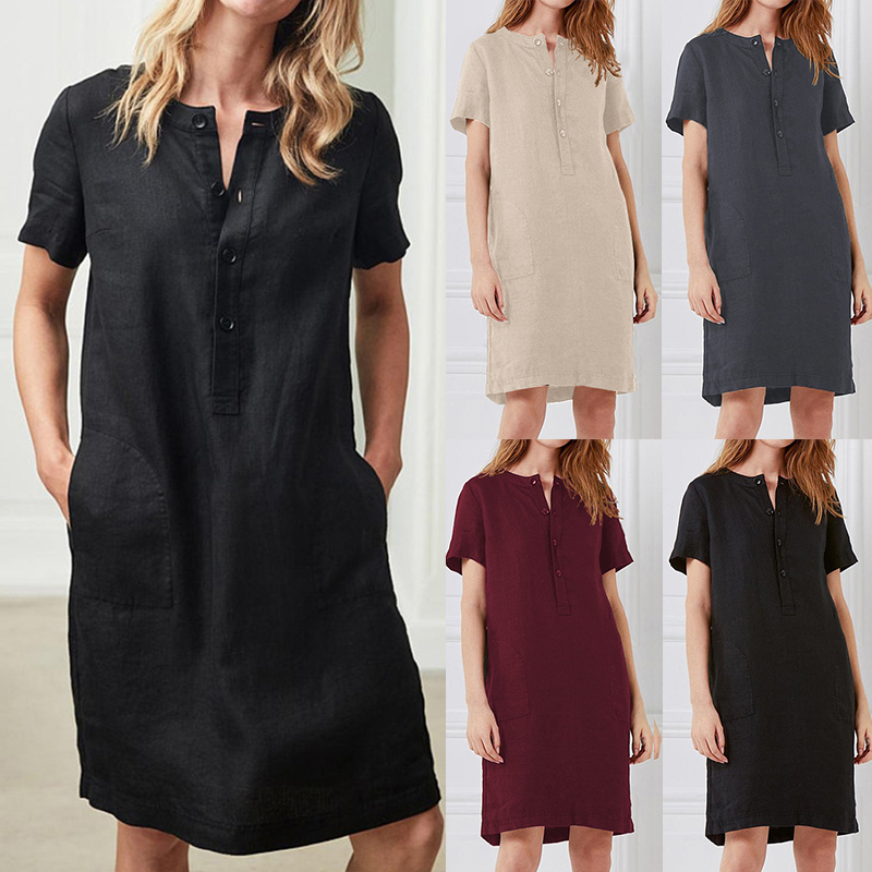 Summer Linen Dress 19 Celmia Women Tunic Top Short Sleeve Shirt Button Female Vintage Casual Sundress Sarafans Vestidos S-5XL 4