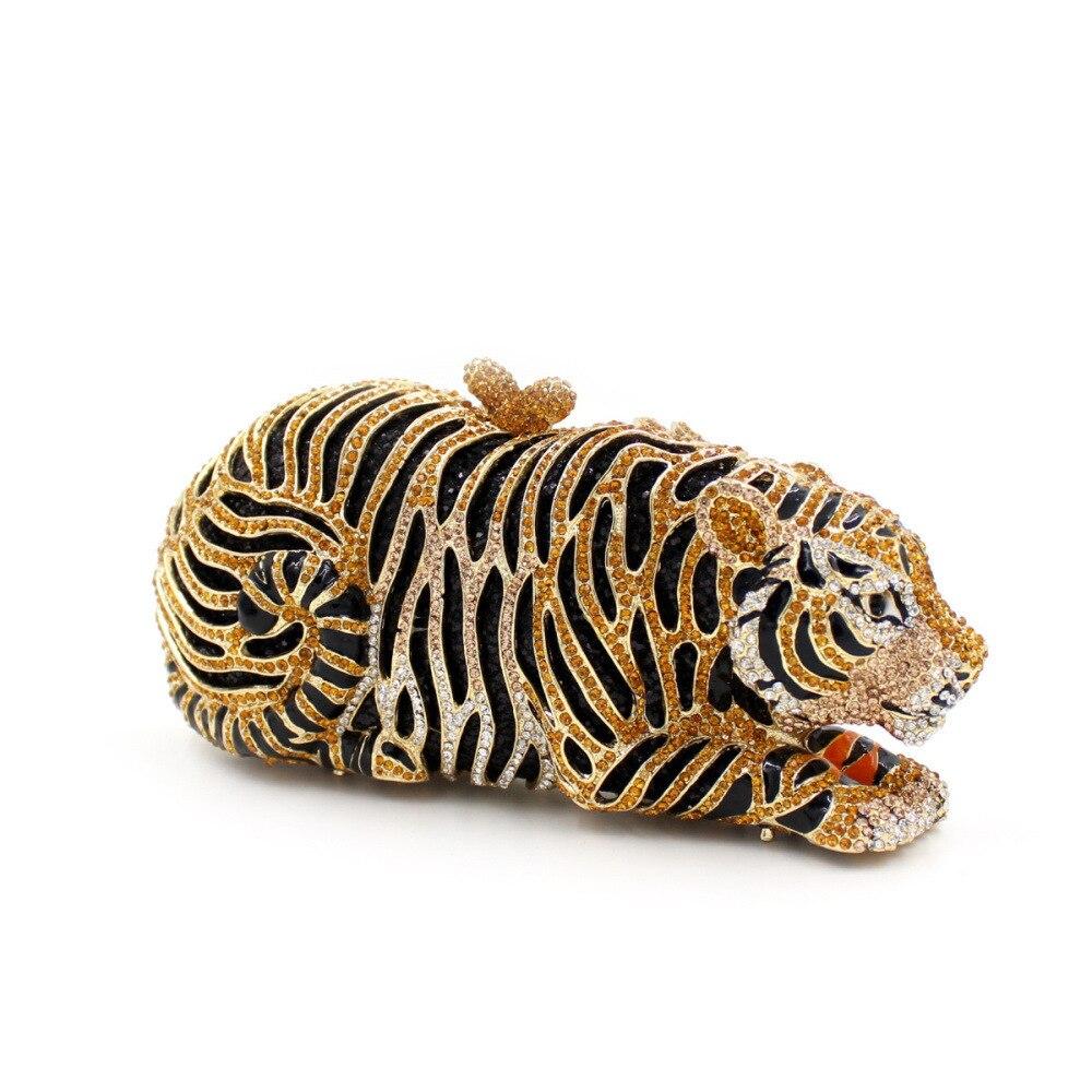 BL027 tigre strass sac serrure vide métal cristal dîner sac à la main diamant sac dames sac à main
