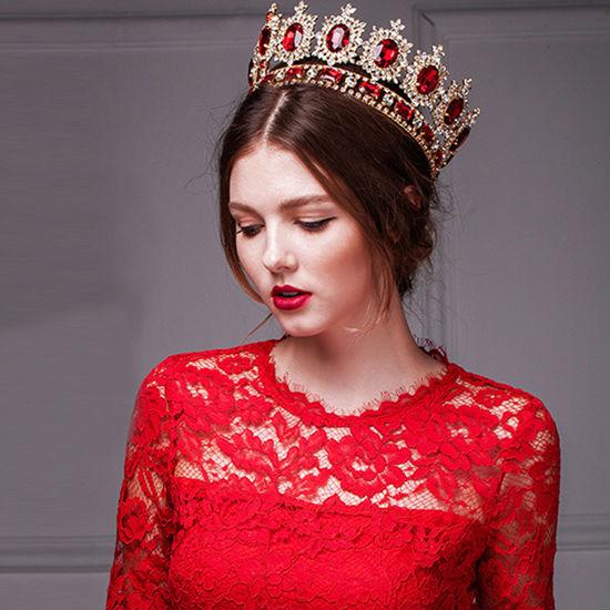 big European royal crown golden rhinestone imitation ruby tiara super large quinceanera crown wedding hair accessories crown (6)