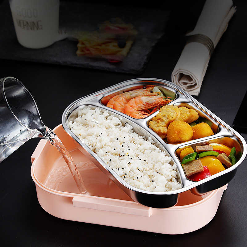 ONEUP 304 Stainless Steel Lunch Box New Japanese Style Compartment Bento Box Kitchen Leakproof Food Container To Send Tableware