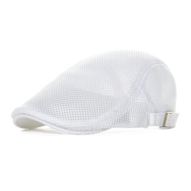 c2da17cc25b Summer Mesh Flat Cap Men Women White Casual Beret Light Ivy Caps Cabbie  Newsboy Gatsby Hat Adjustable Breathable Boina 124