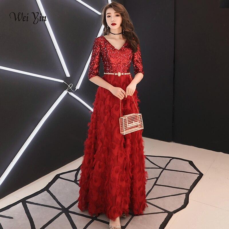 Weiyin Robe de soirée longue Robe de soirée 2019 vin rouge Bling paillettes v-cou robes de soirée longueur plancher robes de soirée WY1529