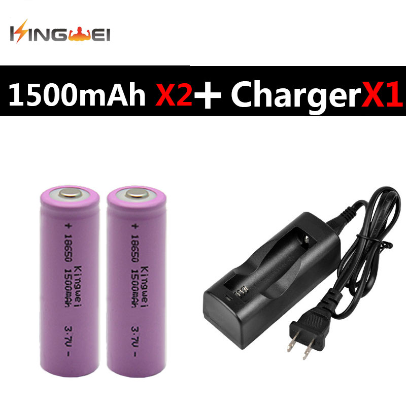 2 Pieces KingWei Lithium ion <font><b>Battery</b></font> <font><b>18650</b></font> <font><b>1500mAh</b></font> 3.7v Rechargeable Li-ion <font><b>Battery</b></font> With NK-803C EU US Plug Charger image