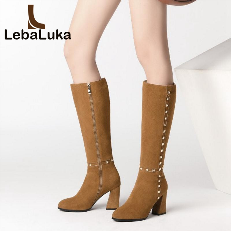 LebaLuka Women Genuine Leather High Heel Boots High Quality Rivet Zipper Winter Shoes Women Snow Warm Mid Calf Boots Size 33-40 qutaa national style winter women shoes genuine leather flat heel mid calf boot zipper women motorcycle snow boots size 34 40