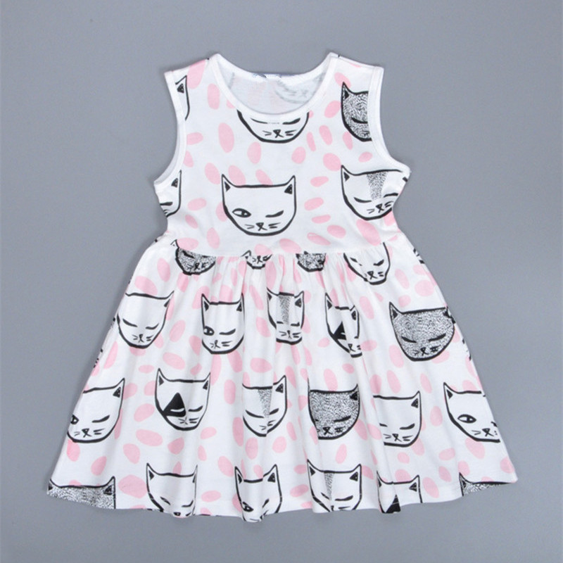 Girls dress Vestidos girl Kids clothes Girls summer dress 2017 Baby girl sundress cat print sleeveless dresses ropa de ninas суперзнатоки учение развлечение 420 вопросов и ответов 3 класс