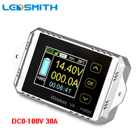 LEDSMITH 100V 30A DC Multifunctional Wireless Bi Directional Voltage Current Power Meter With Color LCD Display