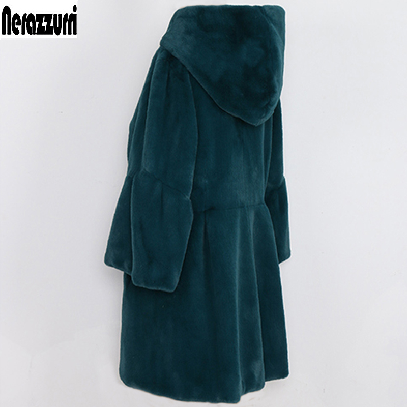 Nerazzurri Faux Fur Coat Woman With Hood Flare Sleeve Three Quarter Pleated Large size Furry Colored