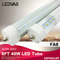 LEDVAS FA8 single pin 8FT Led Tube light with Warm White chip192pcs SMD2835 3800lm 40W AC85-265V Factory outlets CE RoHS #40W25x