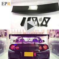 Car styling VRS Style Euro Edition Carbon Fiber GT Wing For Nissan R35 GTR Coupe Glossy Fibre Rear Trunk Spoiler Drift Kit Trim