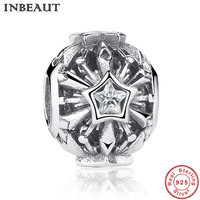 INBEAUT Vintage Snowflake Crystal Charm Bead For Women Silver CZ Ice Star Charm Bracelet Bead Antique