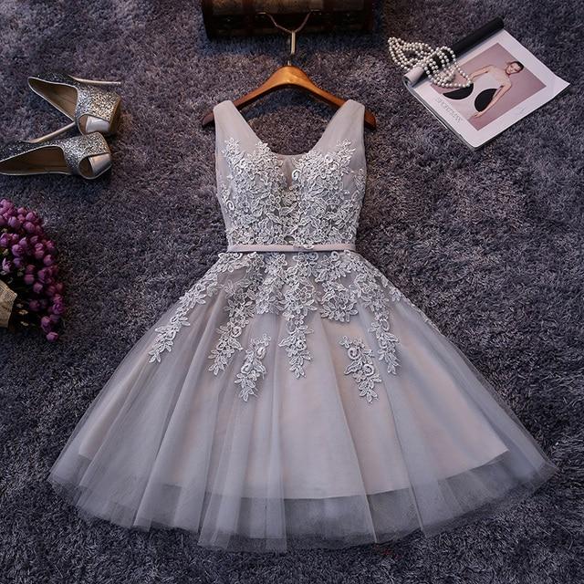 36f0f22614 En Stock tul elegante cuello en V Apliques de encaje vestido de fiesta  barato corto vestidos