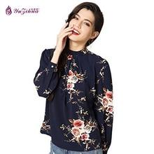 Yuzihua Autumn Chiffon Long Sleeve Floral Women Blouses Plus Size Women Clothing Women's Shirt Blusas Mujer De Moda 2017 Tops
