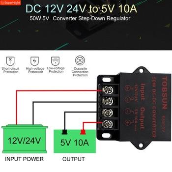 цена на 12V 24V to 5V 10A 50W DC DC Converter Transformer Step Down Voltage Reducer Module Power Supply for LED Strips TV Car Solar CE