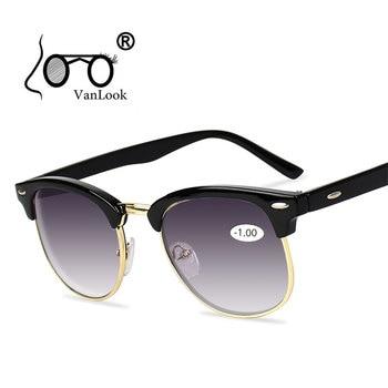 Mannen Zonnebril Voor Bijziendheid vrouwen Brillen Grijs Gradient Lens Bril Mannen Lenzenvloeistof Frame Anti UV400-0.50 -1.0-4.5-5.0