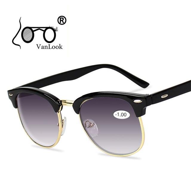 Óculos de Sol dos homens Óculos de grau Para correção de Miopia das Mulheres Óculos de Lente Gradiente Cinza Óculos Homens Armação dos óculos Anti UV400-0.50 -1.0-4.5-5.0