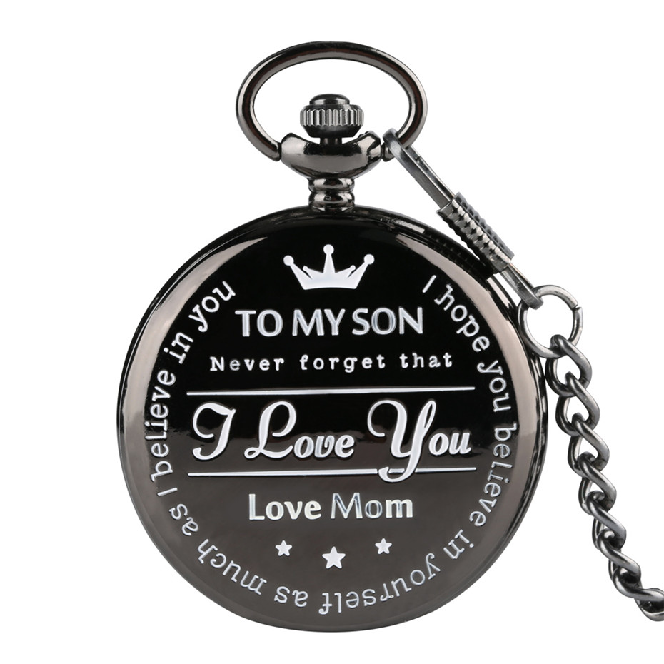 Black 'TO MY SON' Quartz Pocket Watch Men Casual Carving Word Men's Watches Timepieces Gifts Form MOM 2019 New Clock Boy Gift