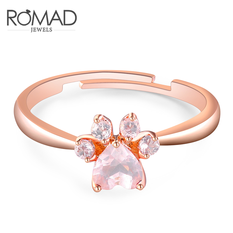 Romad Bear Paw Cat Claw Opening Adjustable Ring Rose Gold Dog Paw Rings for Women Wedding Pink Crystal CZ Love Gifts Jewelry Z4