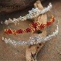 Venta caliente Rojo/Plata/Colores AB Checa Rhinestone Crystal Crown Tiara de La Boda Joyería Nupcial Del Pelo Accesorios Del Pelo Del Partido