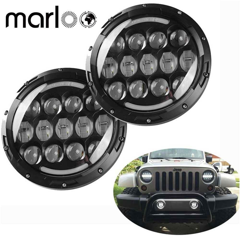 Marloo Pair 105W 7 Inch LED Headlights DOT Approved For Jeep Wrangler Jk TJ CJ Classic Car Land Rover Defender Td4 Td5 90 110 2 pcs chrome 7inch projector headlight dot approve 7 105w daytime running lights for land rover defender 90 110 jk jeep