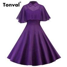 Tonval фиолетовый Винтаж шифоновое платье накидка Верхняя одежда из двух частей Для женщин Лето Питер Пэн воротник плащ рукава элегантное праздничное платье