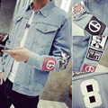 M 2016 spring men's denim jacket Slim plus fertilizer XL fat clothes casual jacket baseball