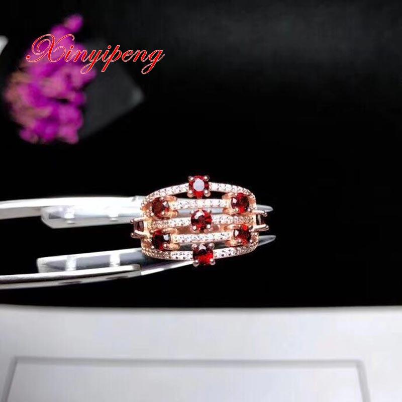 Xin yi peng 925 silver inlaid natural  garnet ring The women ring beautiful Xin yi peng 925 silver inlaid natural  garnet ring The women ring beautiful