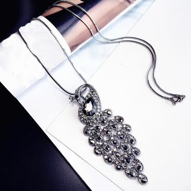 Statement Peacock Rhinestone Long Necklace Women Bijoux Fashion Jewelry Necklace