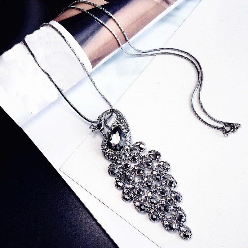 Statement Peacock Rhinestone Long Necklace Womens