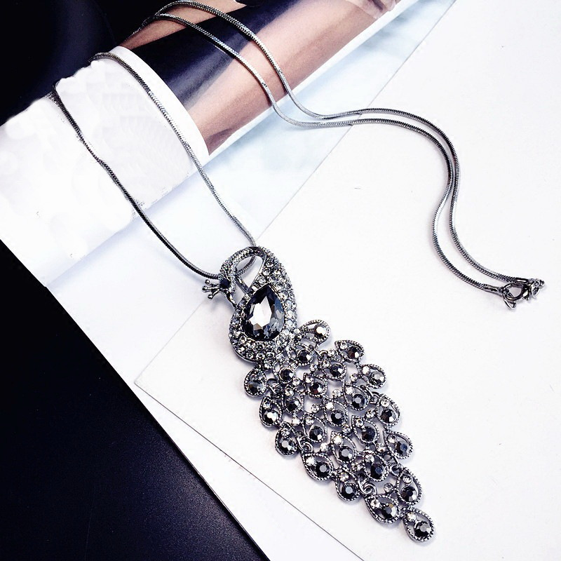 Statement Peacock Rhinestone Long Necklaces