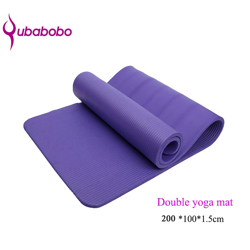 QUBABOBO 15mm NBR Non-slip Double Yoga Mats For Fitness Women Yoga Pilates Massage Mats Female Gym Mats Durable Exercise Mats new yoga pilates exercise high density eva foam massage roller fitness home gym massage