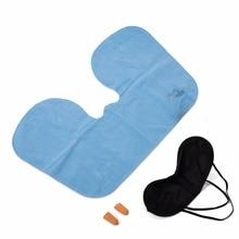 Forfar Portable Inflatable Pillow Earplugs Goggles Travel Air Cushion Camp Beach Car Plane Head Rest Bed Sleep For Outdoor Sport