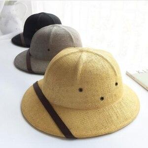 Image 5 - 2019 Unisex Novelty Toquilla Straw Sun Hats for Men Vietnam War Army Hat  Helmet Pith Dad Boater Bucket Hats Summer