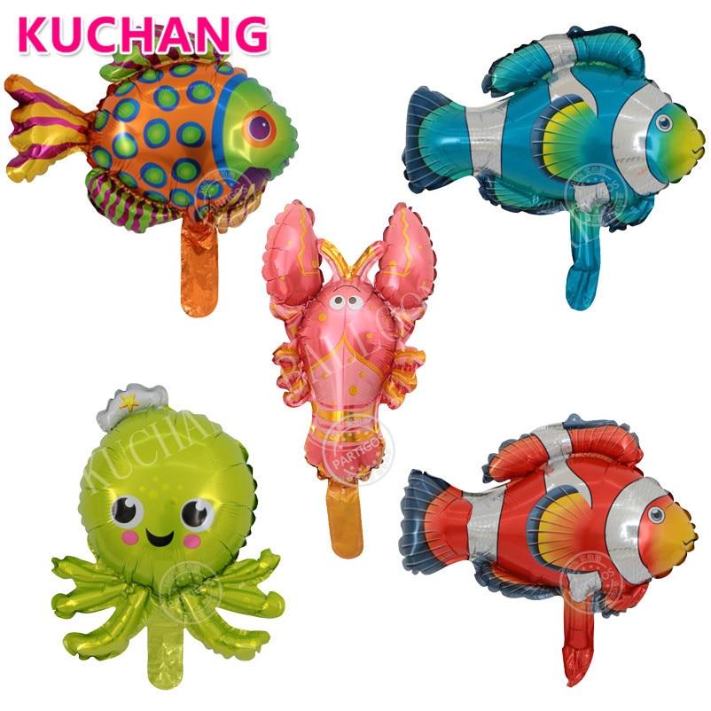 50pcs Mini Octopus Clownfish Spot Fish Crayfish Foil Balloons Marine Ocean Sea Animals Aquatic Baby Shower Birthday Party Decor