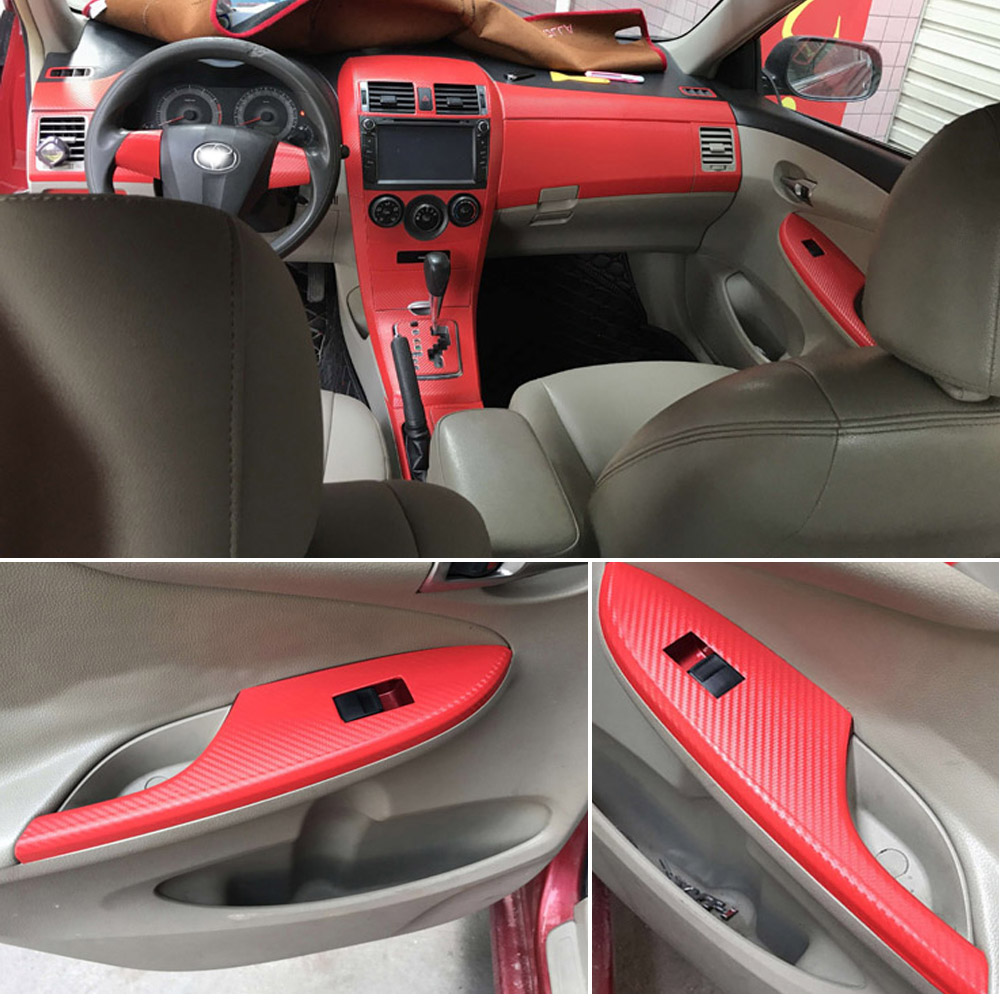 For Toyota Corolla 2007-2013 Interior Central Control Panel Door Handle 3D/5DCarbon Fiber Stickers Decals Car Styling Accessorie