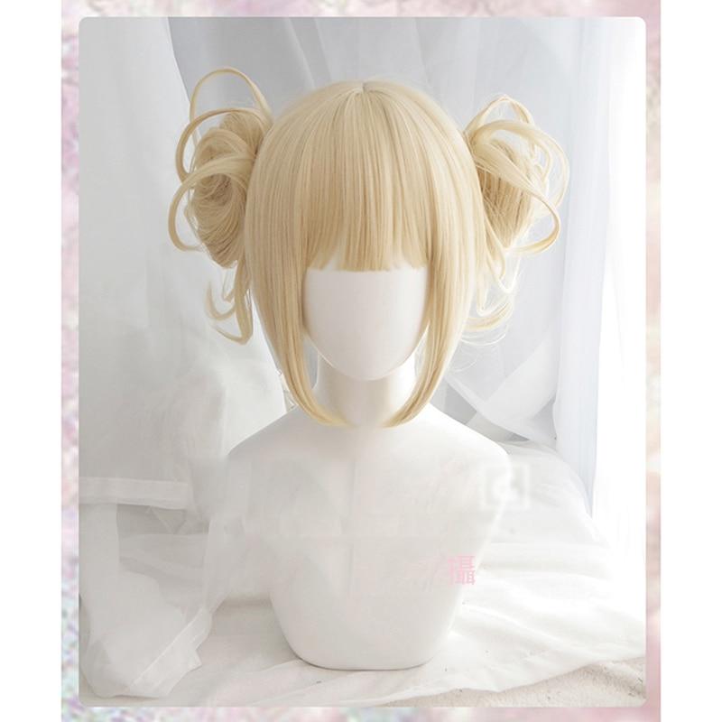 My Boku No Hero Academia Akademia Himiko Toga Short Light Blonde Ponytails Heat Resistant Cosplay Costume Wig+Cap