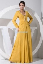 цены free shipping 2014 hot sale plus size yellow new modest long sleeve gowns beading chiffon Mother of the Bride Dress with jacket