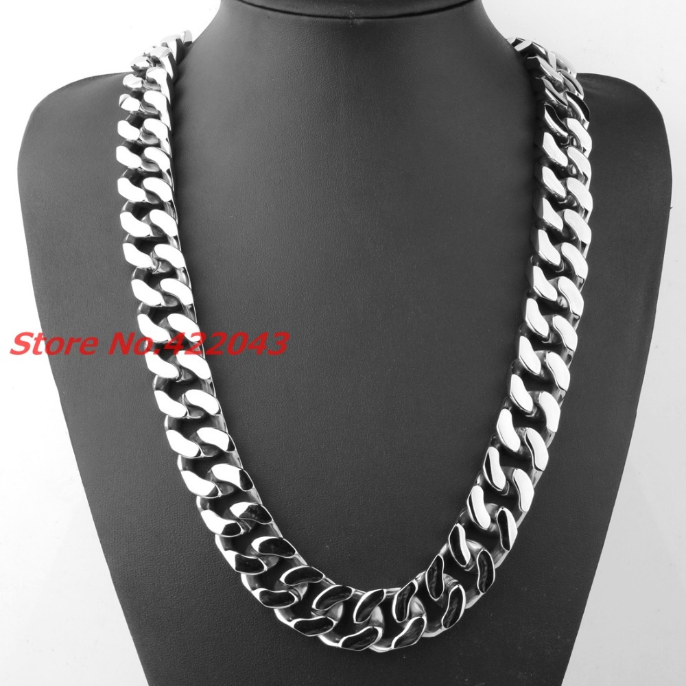 28 Design High Quality For Men's Gifts Jewelry COOL POLISHED HEAVY Cut CUBAN CURB CHAIN Stainless Steel Necklace 21mm wide