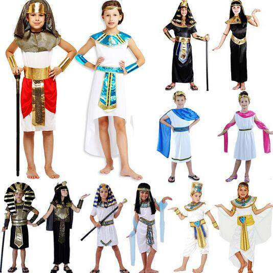 hot parent child clothing male female pharaoh egypt cosplay adult halloween costumes kids egyptian pharaoh greek goddess costume