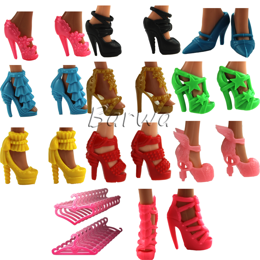 Shoes 10 Pair Doll New 11.5 Inch Accessories Set Random Bandage Bow High Heel Sandals Cute Heels Colorful For Barbie Toy Fashion