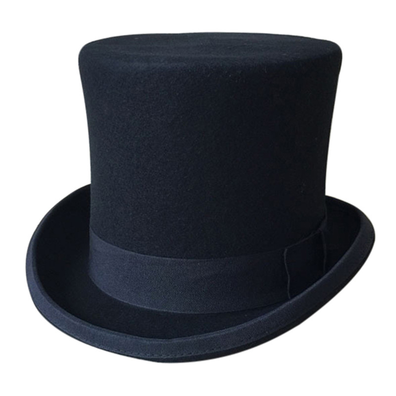 Black Men Woolen <font><b>Fedora</b></font> Hat Flat Mad Hatter Top Hat Traditional President Party Hat Steampunk Magic Hat Packaging With Box