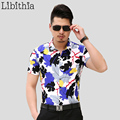 Mens Leaf Dress Shirts Slim Fit Cotton Casual Short Sleeve Blouse Big Size 7XL Summer Casual de Hombre Slim Fit Camisa S260