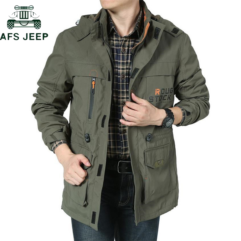 AFS JEEP Brand Clothing Bomber Jacket Men Autumn Winter Multi-pocket Waterproof Military Tactical Jacket Windbreaker Men Coat