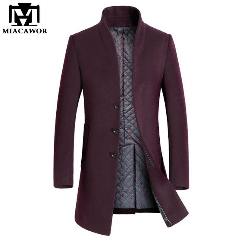 Miacawor новый зимний теплый шерстяной и смешанный мужской длинный плащ, Мужское пальто, брендовая одежда, куртка, мужское кашемировое пальто MJ379