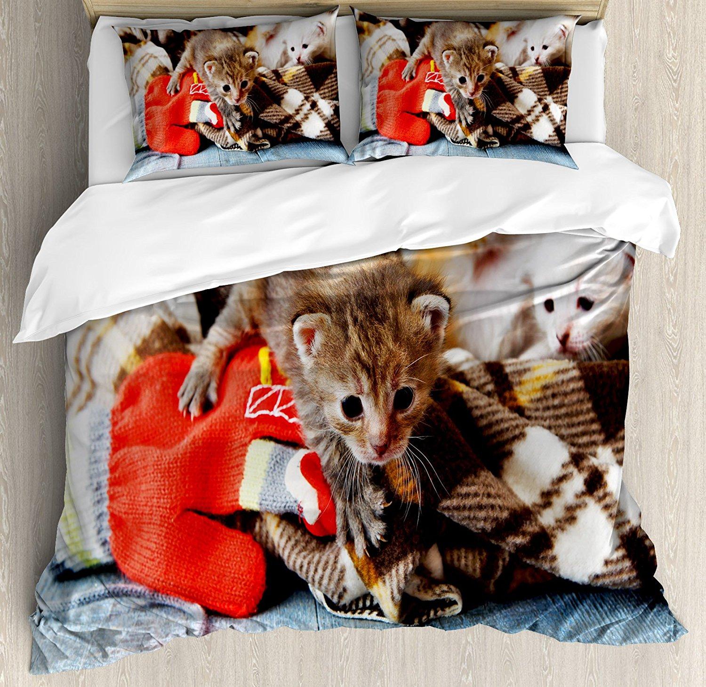 Cats Duvet Cover Set Kittens And Mittens Newborns Baby