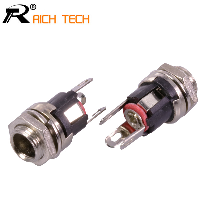 DC 5.5mm X 2.1mm Panel Mount Female DC Power Supply Adapter Metal Jack Sockets Connector R Connector Wholesale 3pcs/lot