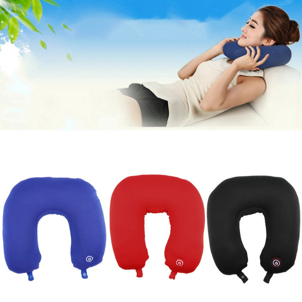 U shaped comfortable neck pillow rest neck massage airplane car travel pillow bedding microbead battery operated