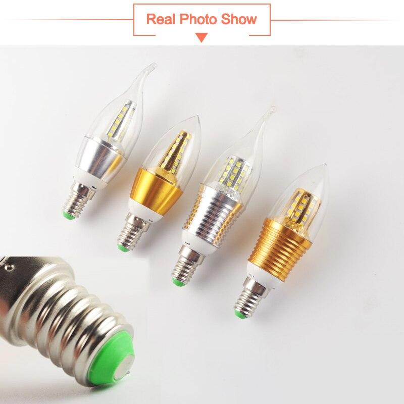 Купить с кэшбэком 10Pcs LED Bulb E14 Aluminum Golden Light AC220V Led Lamp Cool WarmWhite LED Candle Bulb 9W 12W Lampada Bombillas Lumiere Lampara