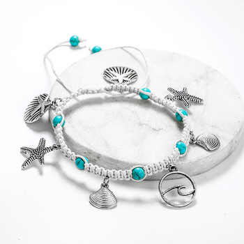 Fashion Bohemia Natural Stone Woven Bracelet Starfish Shell Pendants Anklet For Women Girl Jewelry Accessories Wholesale 5