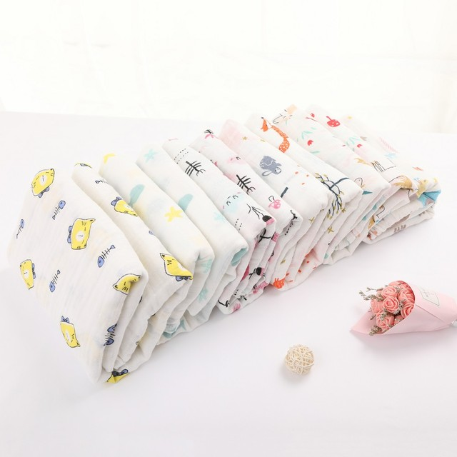 Muslin Swaddle Blankets 100% Organic Cotton Swaddles for Boys and Girls Soft Swaddling Receiving Sleep Blankets For Newborns For All (0-3 years) Nursery Shop by Age Swaddle Blankets